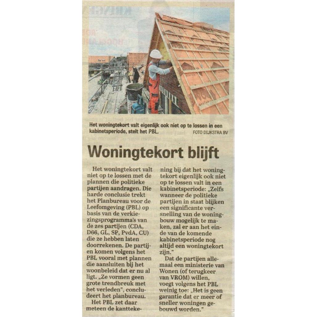Vandaag in de Telegraaf: Woningtekort blijft.
